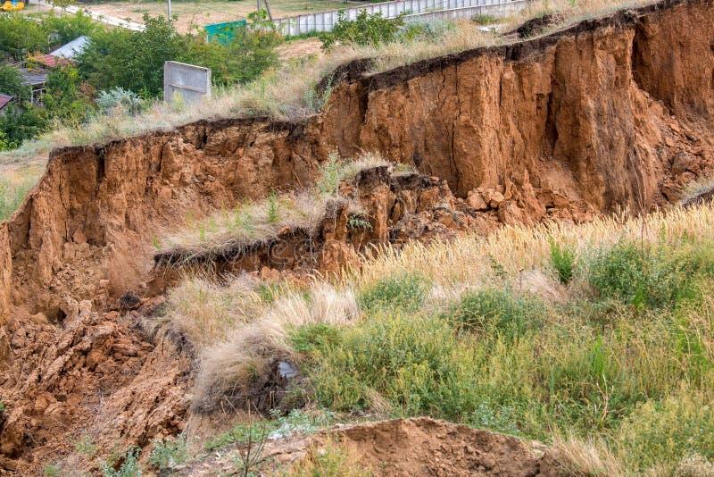 Εδαφολογική καθίζηση εδάφους στις κλίσεις μετά από το σεισμό στοκ εικόνα με δικαίωμα ελεύθερης χρήσης