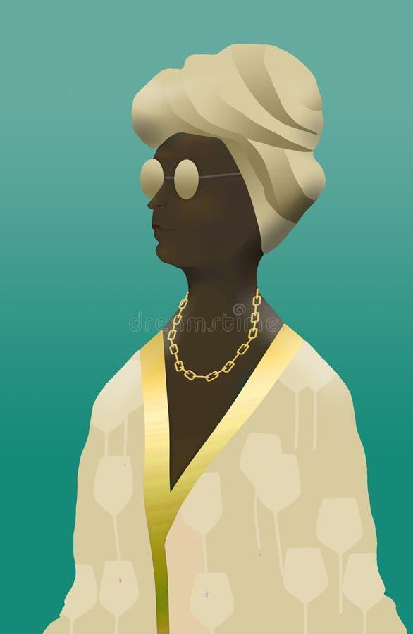 Εδώ είναι ένα πρόσωπο αφροαμερικάνων σε μια τήβεννο που είναι beachwear ελεύθερη απεικόνιση δικαιώματος