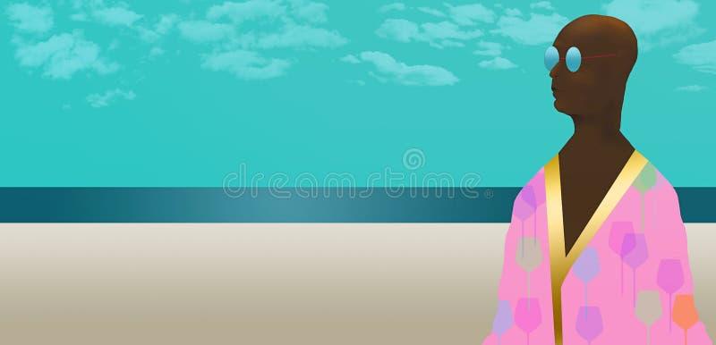 Εδώ είναι ένα πρόσωπο αφροαμερικάνων σε μια τήβεννο που είναι beachwear απεικόνιση αποθεμάτων