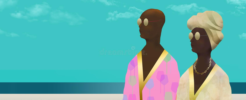 Εδώ είναι ένα πρόσωπο αφροαμερικάνων σε μια τήβεννο που είναι beachwear διανυσματική απεικόνιση