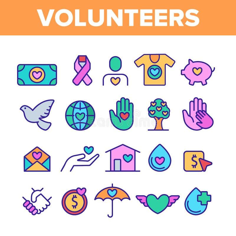 Εθελοντές, διανυσματικά εικονίδια γραμμών χρώματος φιλανθρωπίας καθορισμένα διανυσματική απεικόνιση
