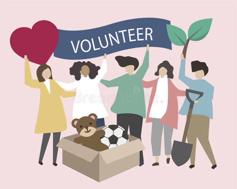 Εθελοντές με την απεικόνιση εικονιδίων φιλανθρωπίας διανυσματική απεικόνιση
