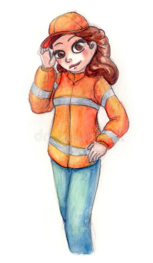 Εθελοντής με το πορτοκαλί παλτό στοκ φωτογραφία