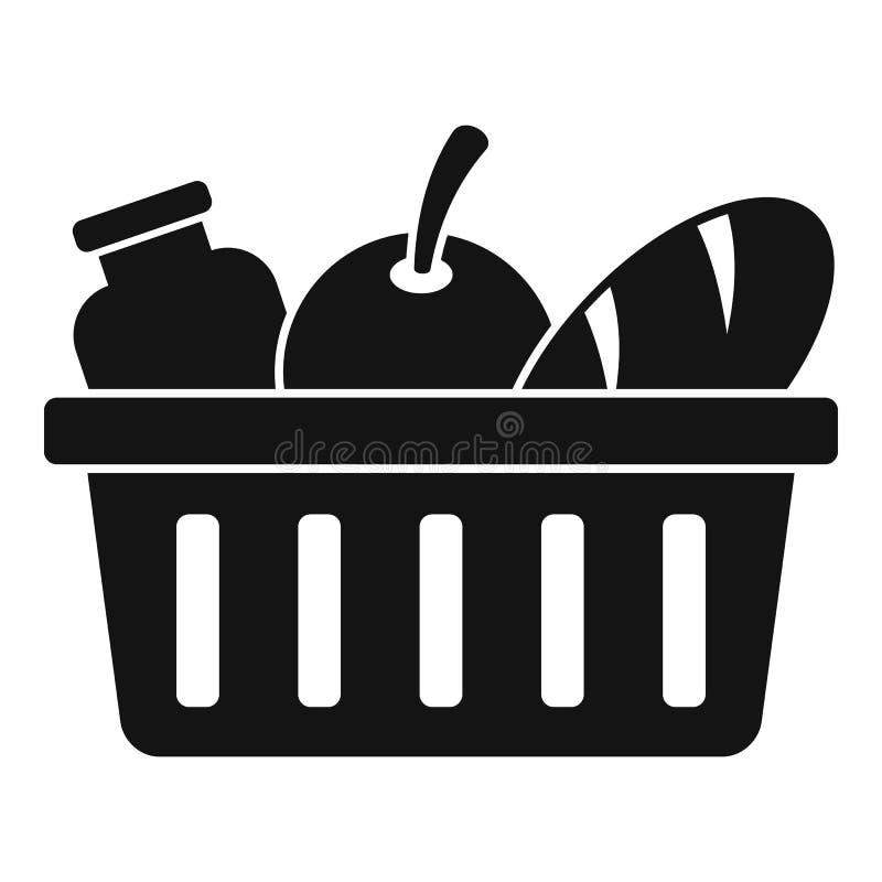 Εθελοντικό εικονίδιο καλαθιών τροφίμων, απλό ύφος απεικόνιση αποθεμάτων
