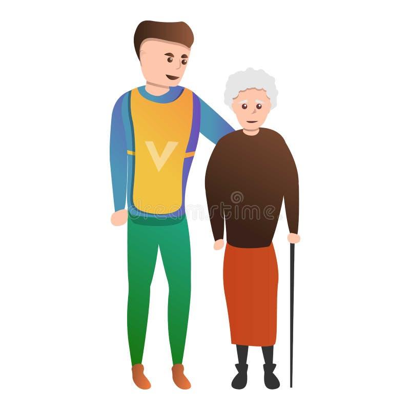 Εθελοντικό εικονίδιο grandma βοήθειας, ύφος κινούμενων σχεδίων ελεύθερη απεικόνιση δικαιώματος