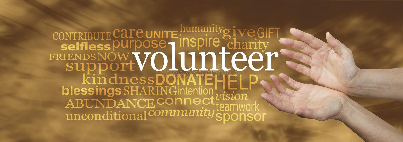 Εθελοντικό έμβλημα σύννεφων του Word αιτήματος στοκ εικόνα με δικαίωμα ελεύθερης χρήσης