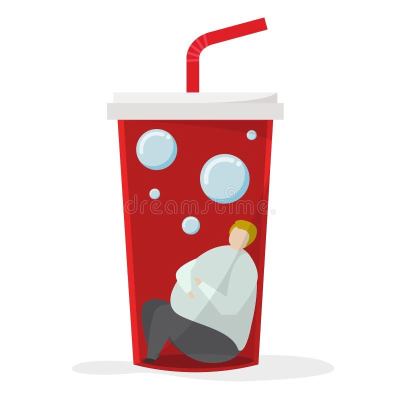 Εθισμένος στα γλυκές ποτά και τη ζάχαρη ελεύθερη απεικόνιση δικαιώματος