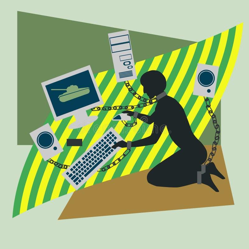 Εθισμός υπολογιστών ελεύθερη απεικόνιση δικαιώματος
