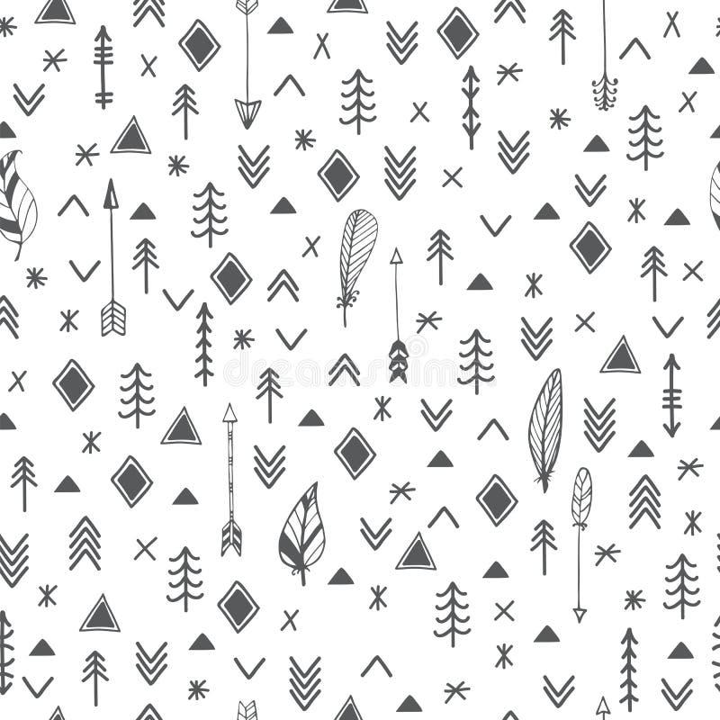 Εθνικά άνευ ραφής σχέδια Των Αζτέκων αφηρημένη γεωμετρική τυπωμένη ύλη τέχνης TR απεικόνιση αποθεμάτων