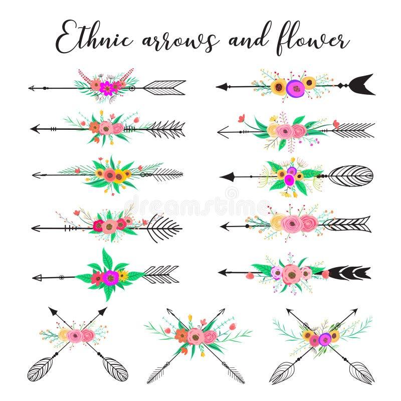 Εθνικά βέλη και λουλούδι Ύφος boho φτερών και λουλουδιών διανυσματική απεικόνιση