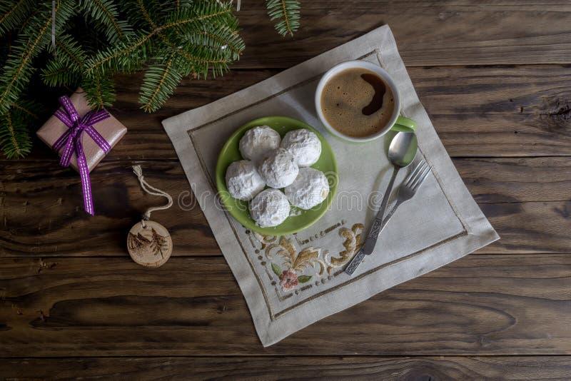 """Εθνικά, ελληνικά μπισκότα Χριστουγέννων """"kourabies """" στοκ εικόνα"""