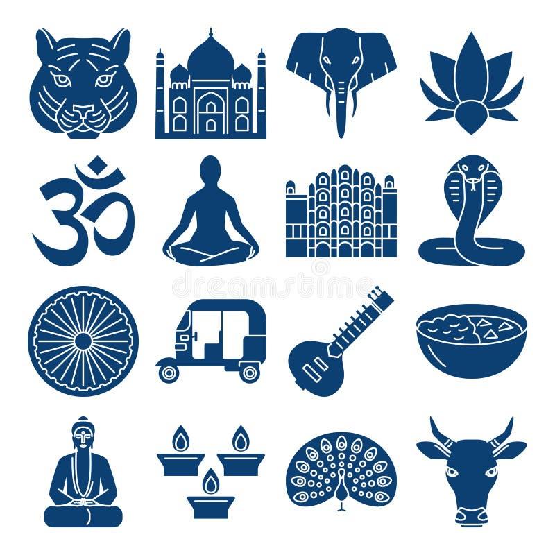 Εθνικά σύμβολα της Ινδίας, εικονίδια σκιαγραφιών που τίθενται στο επίπεδο ύφος διανυσματική απεικόνιση