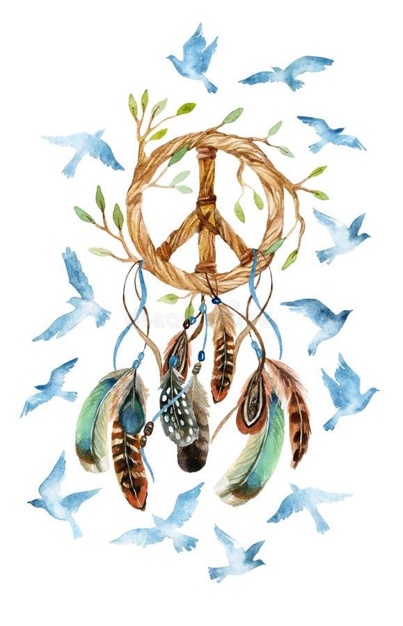 Εθνικά catcher ονείρου Watercolor και σημάδι ειρήνης διανυσματική απεικόνιση