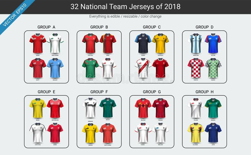 Εθνικής ομάδας ποδοσφαίρου σύνολο ομάδας του Τζέρσεϋ το 2018 το ομοιόμορφο, πρότυπο ποδοσφαιριστών για την παρουσίασή σας η αντισ ελεύθερη απεικόνιση δικαιώματος