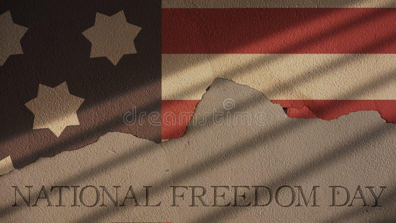 Εθνική ημέρα ελευθερίας Φραγμοί σημαιών και φυλακών της Αμερικής απεικόνιση αποθεμάτων