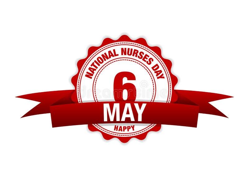Εθνική ημέρα νοσοκόμων 6 Μαΐου ημερολόγιο κορδελλών Διανυσματικό κόκκινο ελεύθερη απεικόνιση δικαιώματος