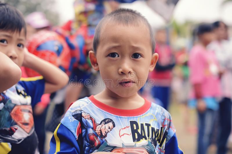 Εθνική ημέρα παιδιών ` s της Ταϊλάνδης ` s - η φωτογραφία ενός παιδιού σε ημερησίως παιδιών ` s σε Saraphi - Chiangmai Τον Ιανουά στοκ εικόνα με δικαίωμα ελεύθερης χρήσης