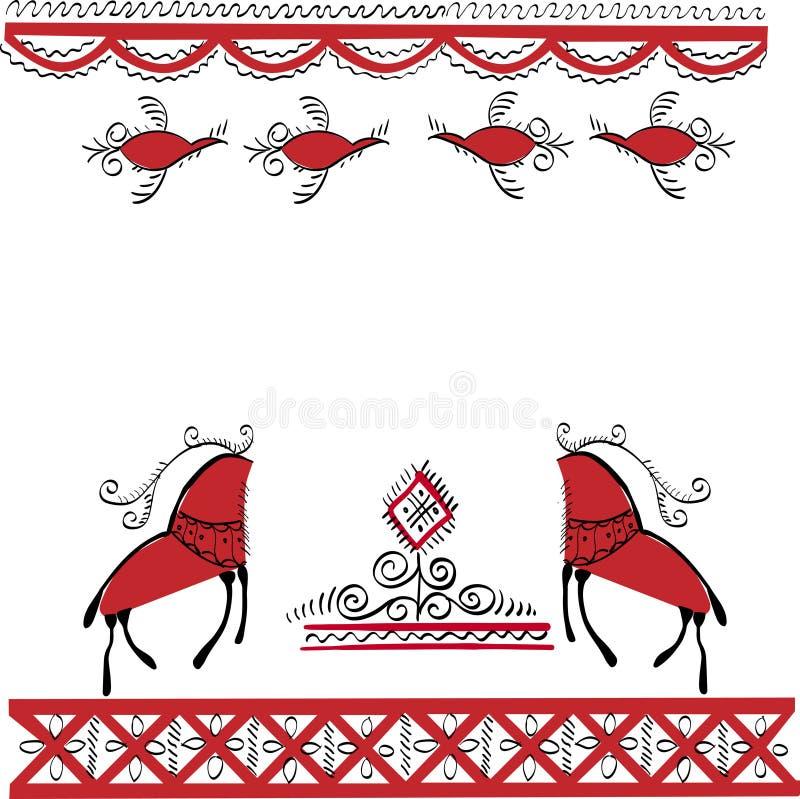 Εθνική διακόσμηση δύο ελάφια και πουλιά στοκ εικόνα με δικαίωμα ελεύθερης χρήσης