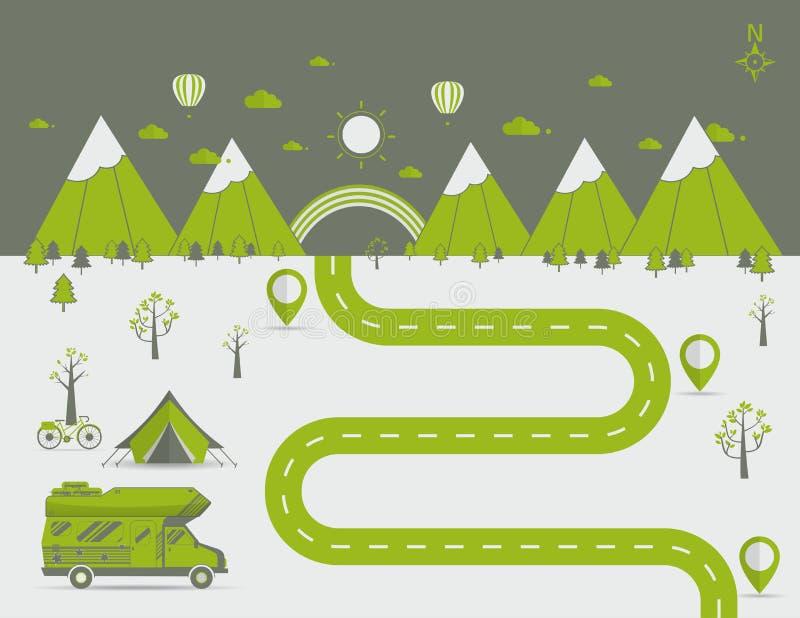 Εθνική διανυσματική απεικόνιση σκηνής στρατοπέδευσης πάρκων βουνών στοκ φωτογραφία με δικαίωμα ελεύθερης χρήσης