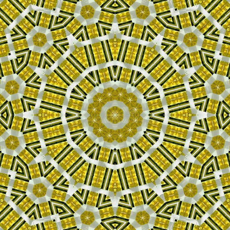 Εθνική κίτρινη διακόσμηση mandala με τα εξαγωνικά στοιχεία του κεραμιδιο διανυσματική απεικόνιση