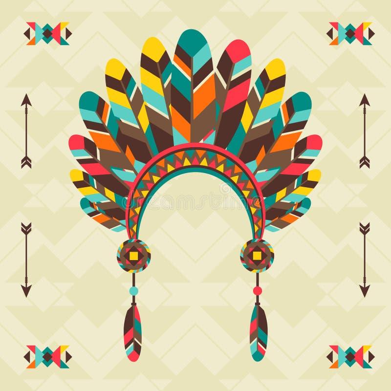 Εθνική καταγωγή με headband στο σχέδιο Ναβάχο απεικόνιση αποθεμάτων