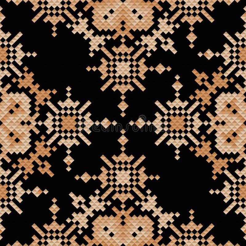 Εθνική κεντητική σχεδίων εικονοκυττάρου άνευ ραφής, παραδοσιακό γεωμετρικό σχέδιο, στοιχείο υφάσματος του λαϊκού ινδικού πολιτισμ διανυσματική απεικόνιση