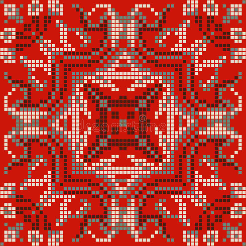 Εθνική κεντητική σχεδίων εικονοκυττάρου, λαϊκό φυλετικό σχέδιο απεικόνιση αποθεμάτων