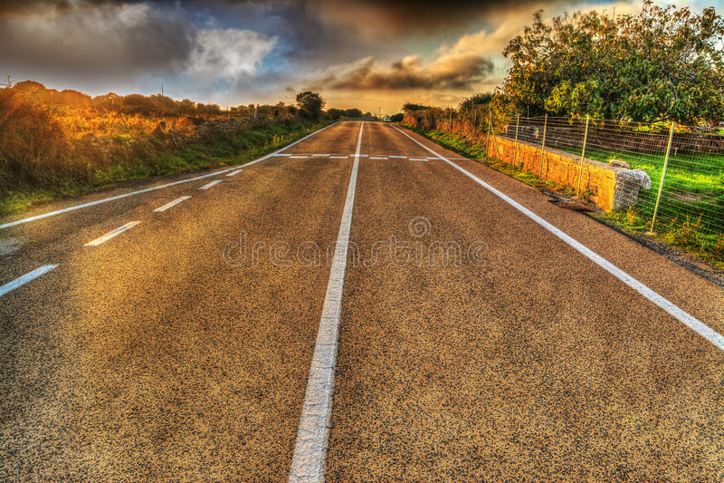 Εθνική οδός κάτω από έναν γκρίζο ουρανό στοκ εικόνες