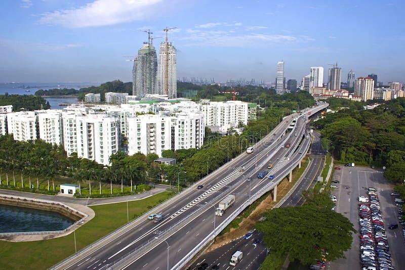 Εθνική οδός της Σιγκαπούρης - άποψη από το τελεφερίκ στοκ εικόνες