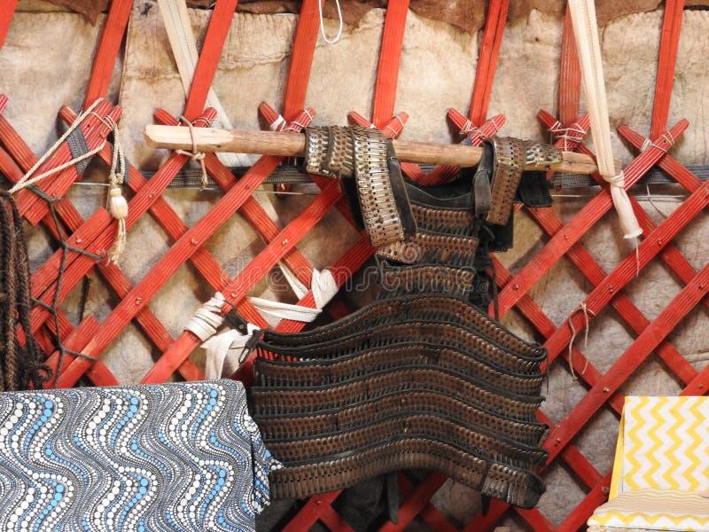 Εθνική παραδοσιακή διακόσμηση της οροφής και των τοίχων του μογγολικού Yurt Εκλεκτής ποιότητας σχέδια ύφανσης Η διακόσμηση του Yu στοκ φωτογραφίες