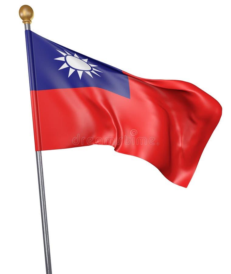 Εθνική σημαία για τη χώρα της Ταϊβάν που απομονώνεται στο άσπρο υπόβαθρο ελεύθερη απεικόνιση δικαιώματος