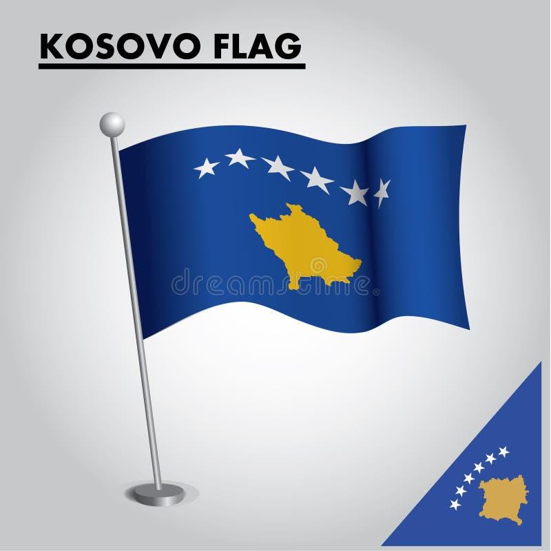 Εθνική σημαία σημαιών ΚΟΣΟΒΟΥ ΚΟΣΟΒΟΥ σε έναν πόλο απεικόνιση αποθεμάτων