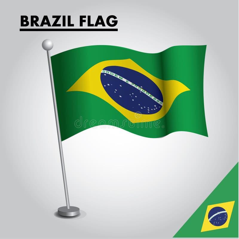 Εθνική σημαία σημαιών της ΒΡΑΖΙΛΙΑΣ της ΒΡΑΖΙΛΙΑΣ σε έναν πόλο ελεύθερη απεικόνιση δικαιώματος
