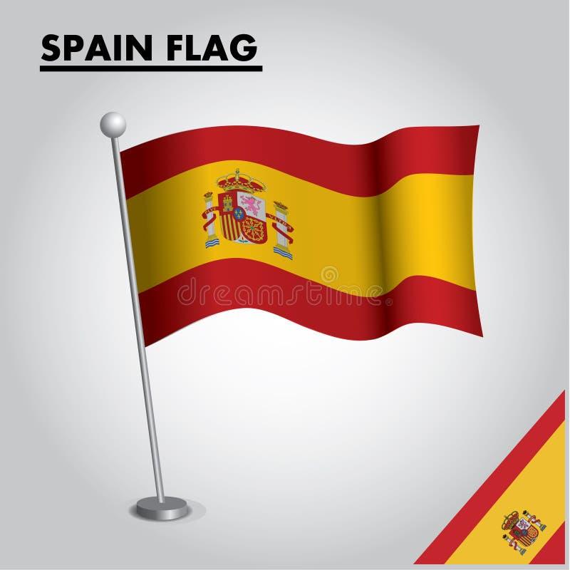 Εθνική σημαία σημαιών της ΙΣΠΑΝΙΑΣ της ΙΣΠΑΝΙΑΣ σε έναν πόλο απεικόνιση αποθεμάτων