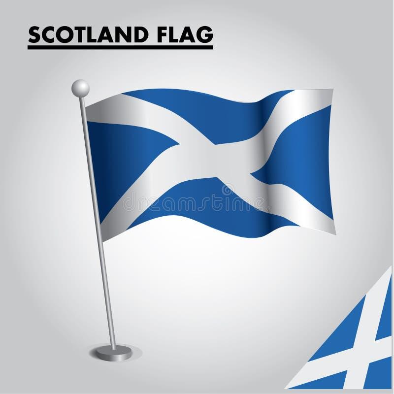 Εθνική σημαία σημαιών της ΣΚΩΤΙΑΣ της ΣΚΩΤΙΑΣ σε έναν πόλο ελεύθερη απεικόνιση δικαιώματος