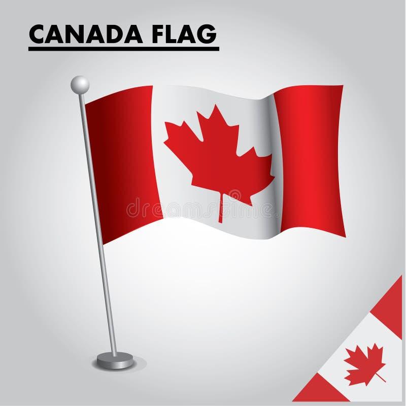 Εθνική σημαία σημαιών του ΚΑΝΑΔΑ του ΚΑΝΑΔΑ σε έναν πόλο απεικόνιση αποθεμάτων