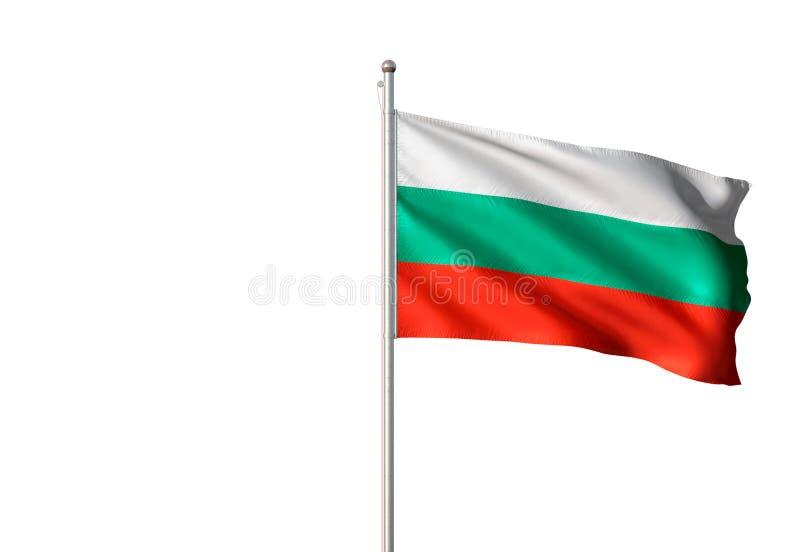 Εθνική σημαία της Βουλγαρίας που κυματίζει την απομονωμένη άσπρη ρεαλιστική τρισδιάστατη απεικόνιση υποβάθρου απεικόνιση αποθεμάτων