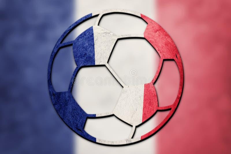 Εθνική σημαία της Γαλλίας σφαιρών ποδοσφαίρου Σφαίρα ποδοσφαίρου της Γαλλίας στοκ φωτογραφίες