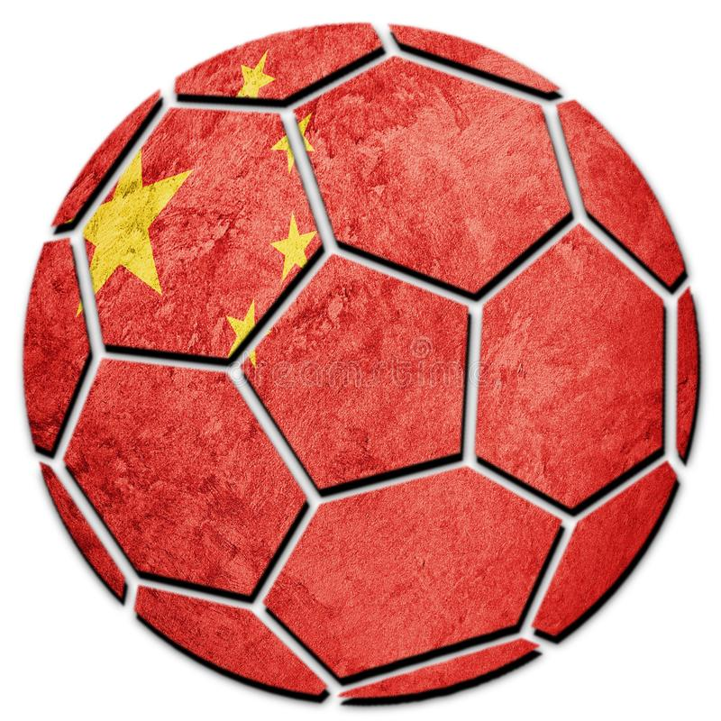 Εθνική σημαία της Κίνας σφαιρών ποδοσφαίρου Σφαίρα ποδοσφαίρου ραχών στοκ εικόνα με δικαίωμα ελεύθερης χρήσης