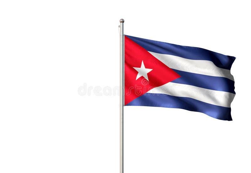 Εθνική σημαία της Κούβας που κυματίζει την απομονωμένη άσπρη ρεαλιστική τρισδιάστατη απεικόνιση υποβάθρου ελεύθερη απεικόνιση δικαιώματος