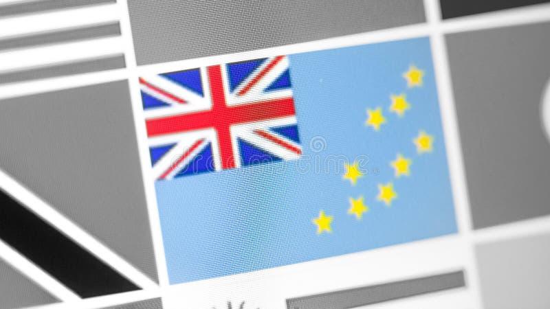Εθνική σημαία του Τουβαλού της χώρας σημαία στην επίδειξη, μια ψηφιακή moire επίδραση στοκ εικόνα