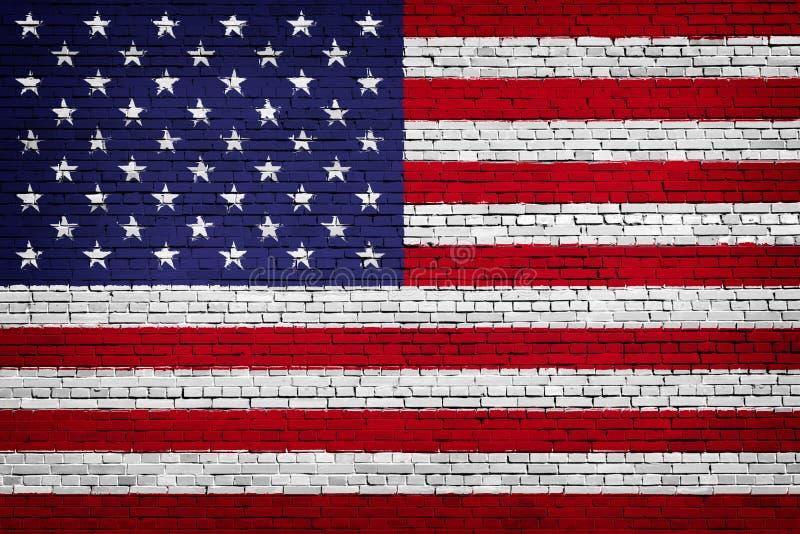 Εθνική σημαία των ΗΠΑ σε ένα τούβλο διανυσματική απεικόνιση