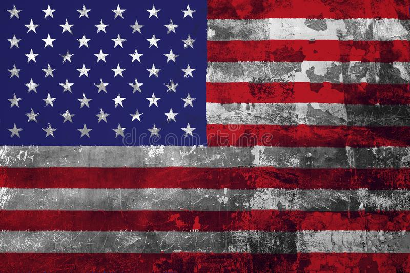 Εθνική σημαία των ΗΠΑ στο υπόβαθρο του παλαιού τοίχου ελεύθερη απεικόνιση δικαιώματος