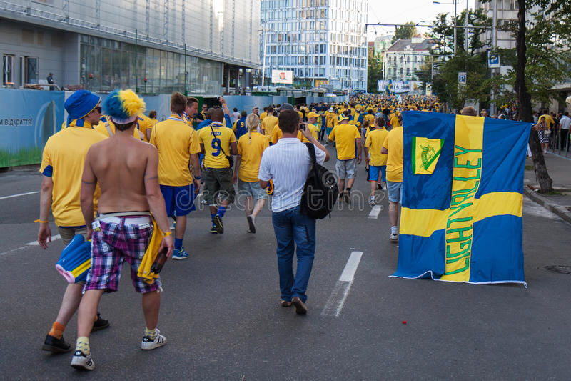 εθνική σουηδική ομάδα ανεμιστήρων στοκ φωτογραφία με δικαίωμα ελεύθερης χρήσης