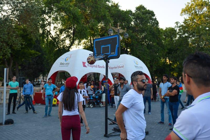Εθνικοί ανταγωνισμοί στο πάρκο παραλιών στο Μπακού στοκ εικόνες