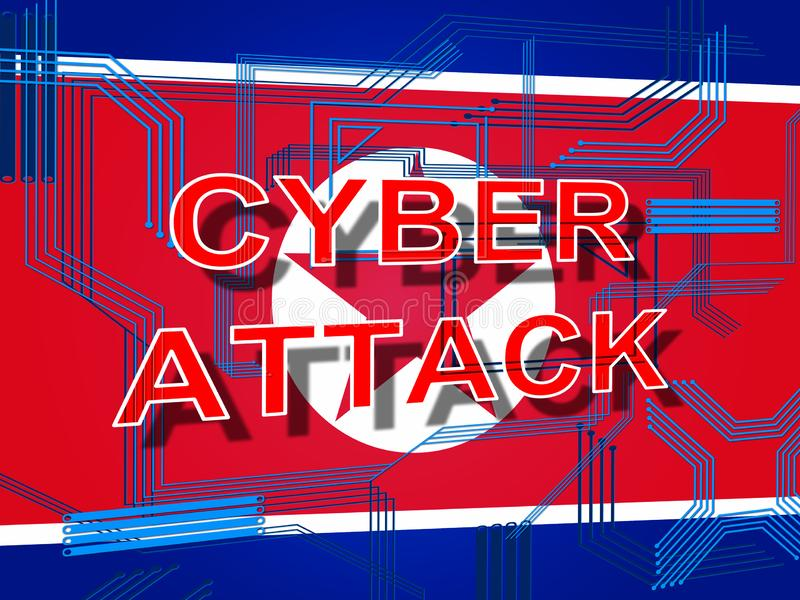 Εθνικοί χάκερ Cyber από την τρισδιάστατη απεικόνιση Βόρεια Κορεών απεικόνιση αποθεμάτων