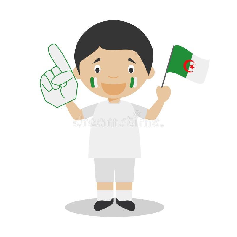 Εθνικός ανεμιστήρας αθλητικών ομάδων από την Αλγερία με τη διανυσματική απεικόνιση σημαιών και γαντιών απεικόνιση αποθεμάτων