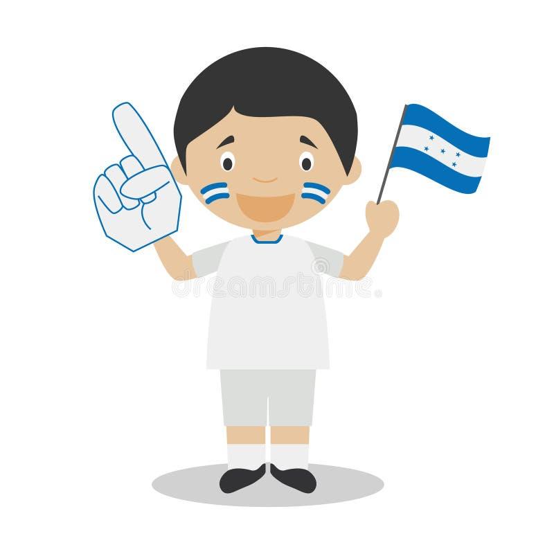 Εθνικός ανεμιστήρας αθλητικών ομάδων από την Ονδούρα με τη διανυσματική απεικόνιση σημαιών και γαντιών διανυσματική απεικόνιση