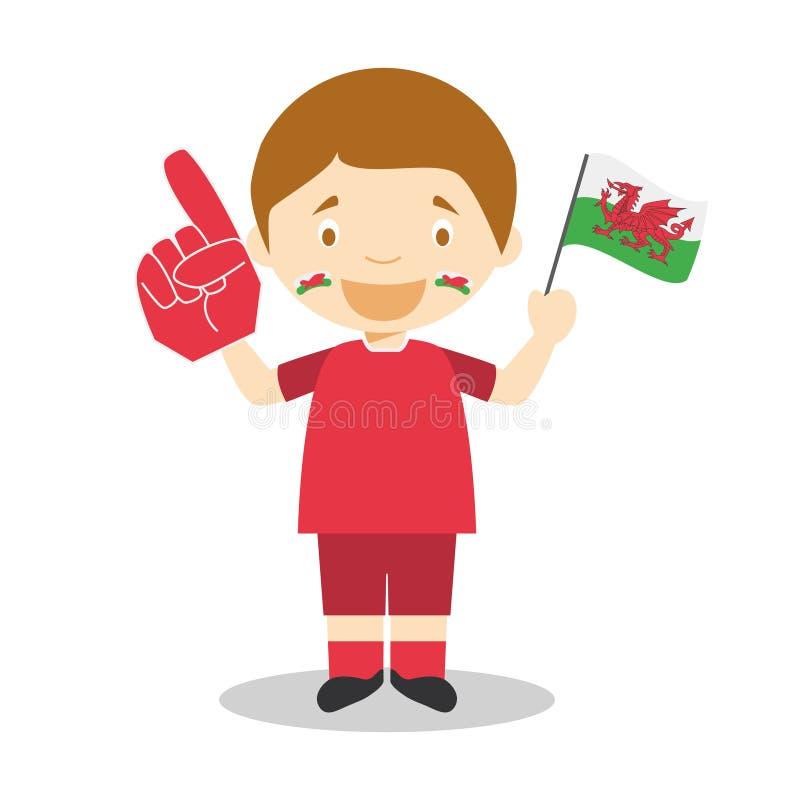 Εθνικός ανεμιστήρας αθλητικών ομάδων από την Ουαλία με τη διανυσματική απεικόνιση σημαιών και γαντιών ελεύθερη απεικόνιση δικαιώματος