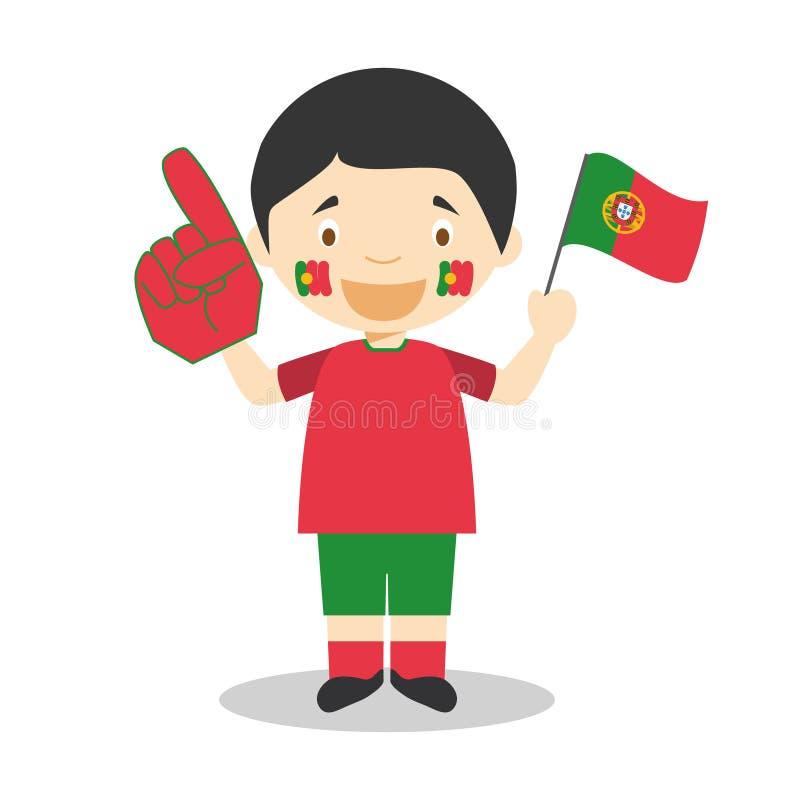 Εθνικός ανεμιστήρας αθλητικών ομάδων από την Πορτογαλία με τη διανυσματική απεικόνιση σημαιών και γαντιών ελεύθερη απεικόνιση δικαιώματος